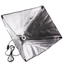 Softbox cu difuzie lampa cu 1 soclu E27 si 50 x 70 cm, pt videochat