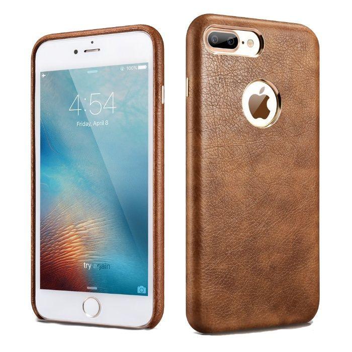 Husa piele Xoomz, iPhone 7 PLUS fara clapeta, negru, maro