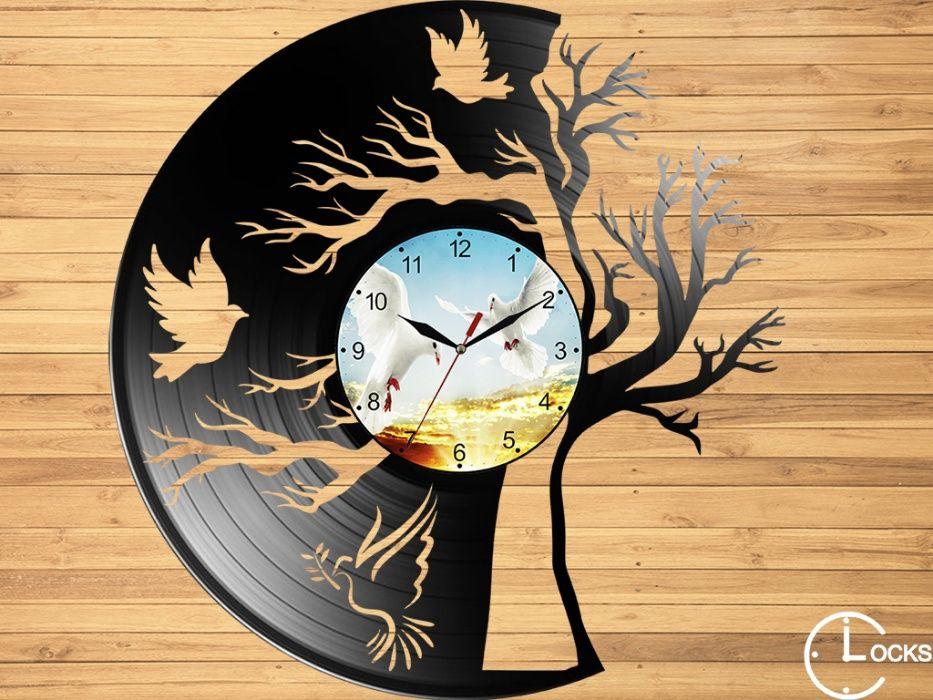 Ceas de perete din vinil Copacul cu porumbei gradina casa decor stil