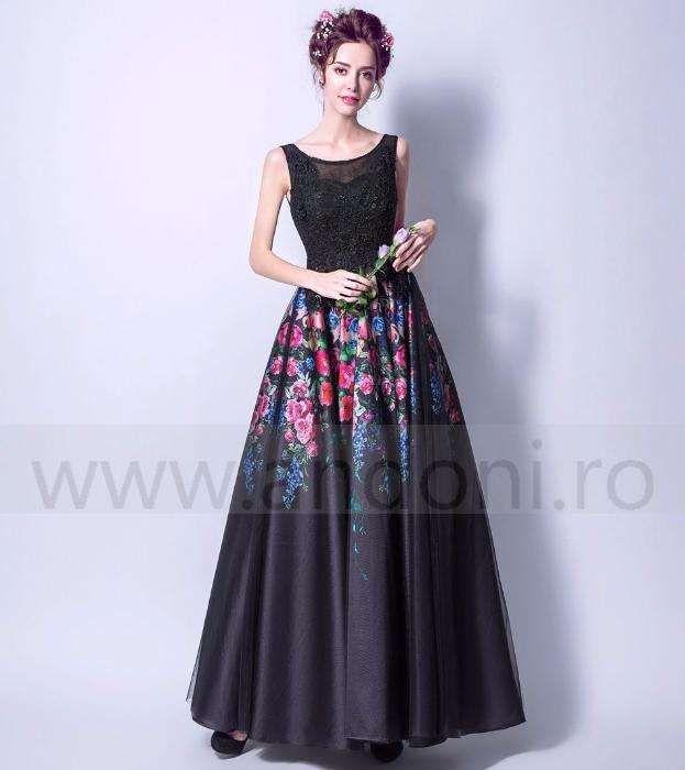 Rochie de seara lunga neagra cu imprimeuri