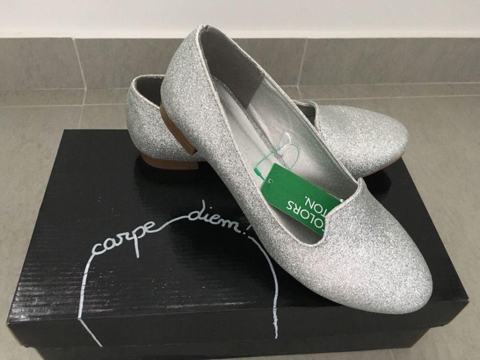 Pantofi Benetton argintii (sclipici)