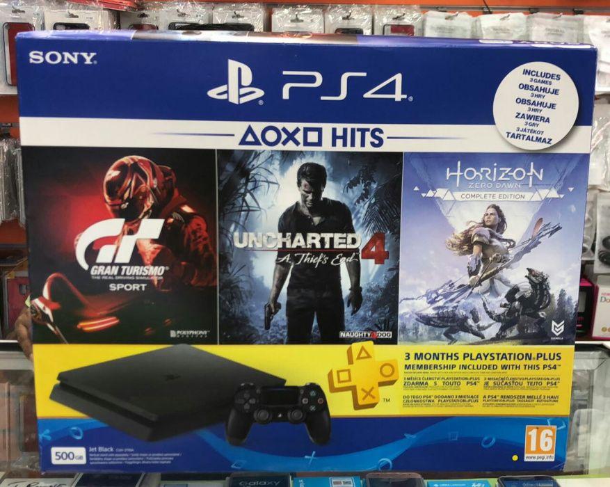 PlayStation 4 slim 500gb + 3 jogos( Grand-turismo; Uncharted; Horizon)