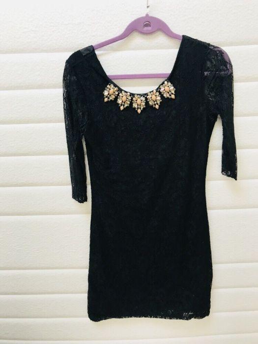 Rochie elegantă spate gol+colier pietre