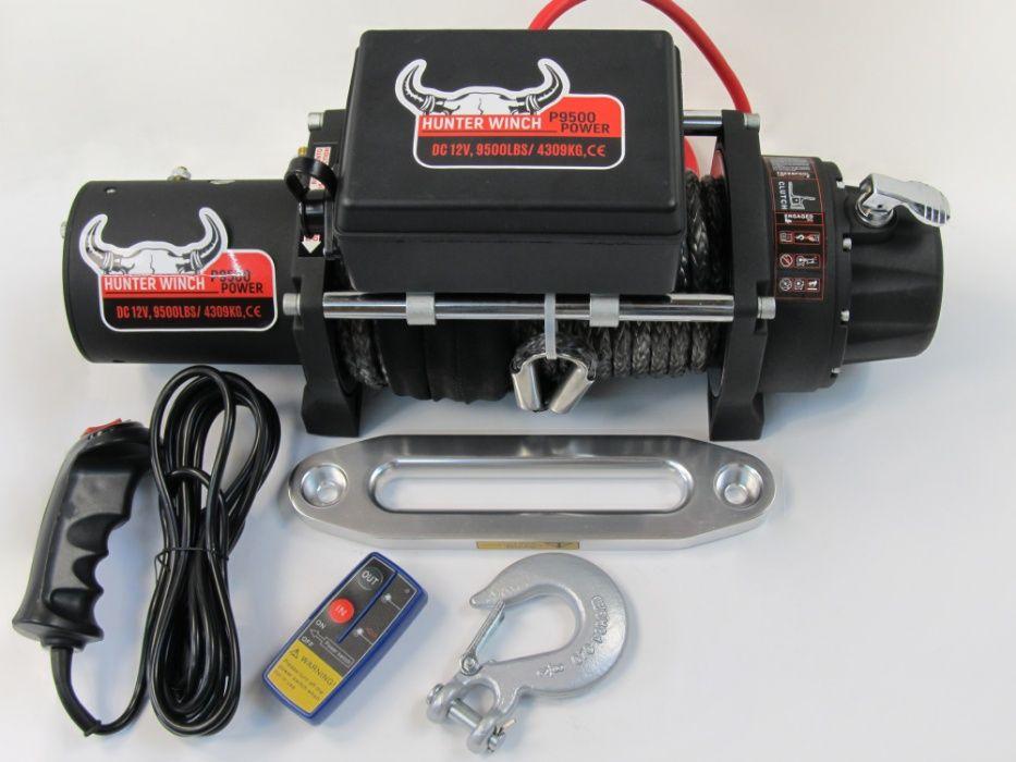 Лебедка Hunter Winch P9500 POWER 12V 9500lbs синтетично въже гр. Бургас - image 1