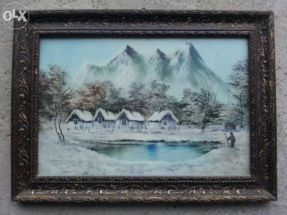 tablou peisaj iarna la munte