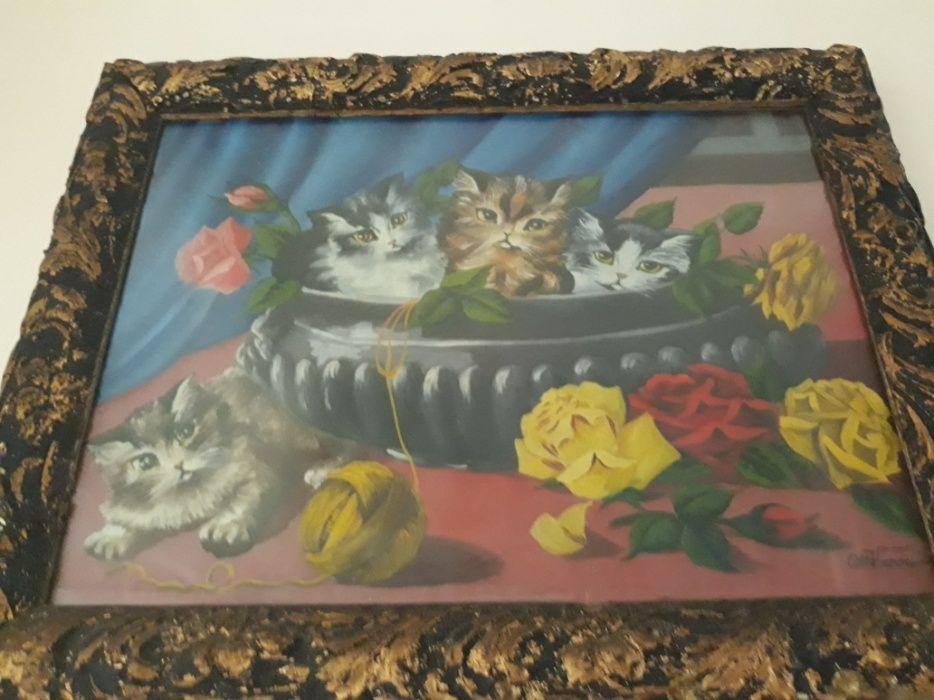 Tablou cos pisici cu flori superb