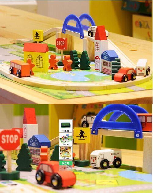 Детски дървен конструктор 40 части с релси,парк,надлез, дървени коли гр. Бургас - image 10