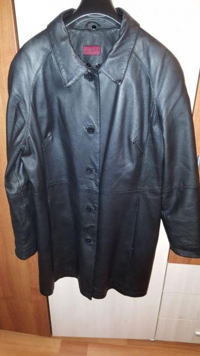 Haina/ palton/ geaca dama, piele naturala, lunga, neagra, 46 (42)
