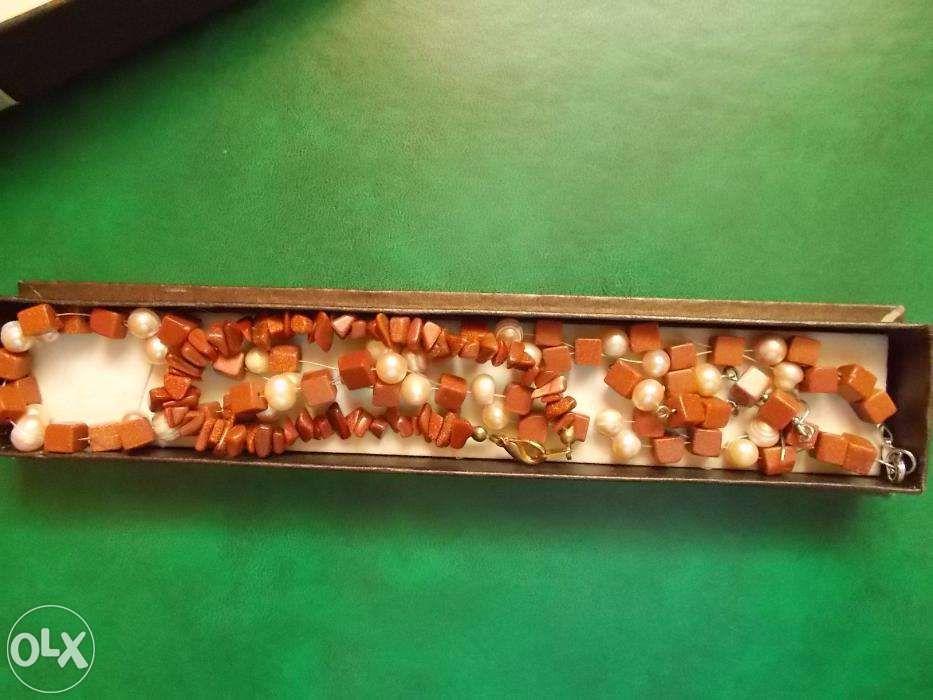 Margele pietre semipretioase - piatra soarelui si imitatie de perle