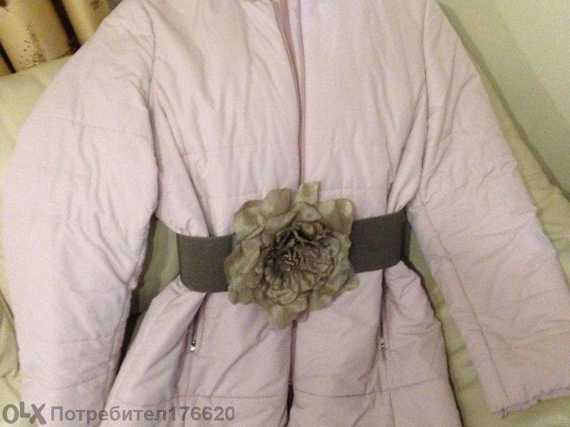 Дамско зимно яке с яка от естествен косъм
