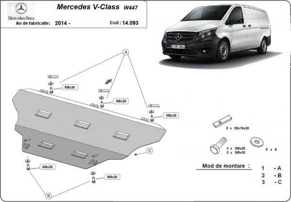 Scut motor Mercedes V-Class W447, 4x2, 1.6 D 2014-prezent - otel 2.5mm