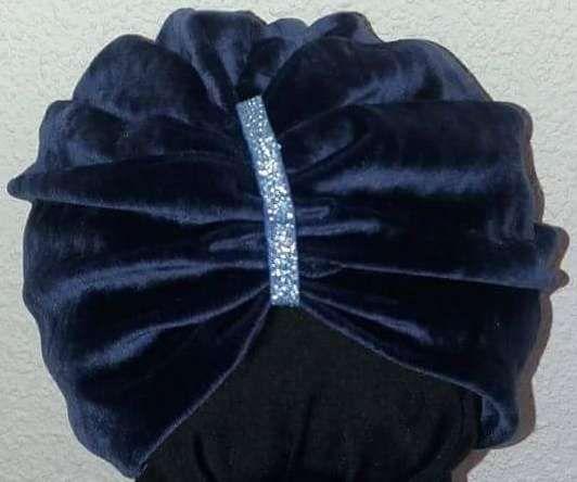 Turban Bleumarin Catifea Elastica