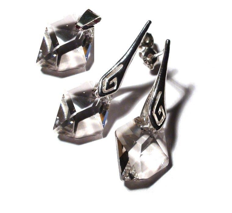 Set cristale Swarovski si argint, bijuterii mireasa