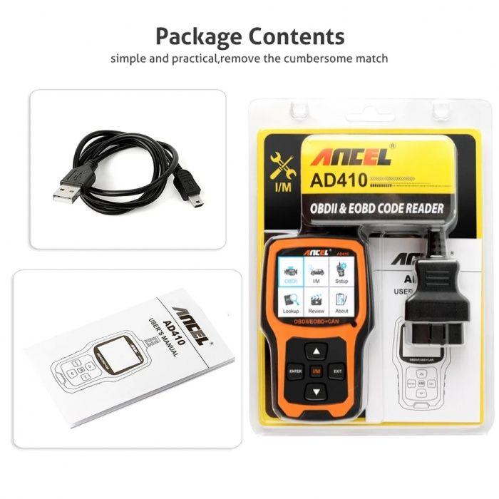 Автомобильный сканер Ancel OBD2 AD410