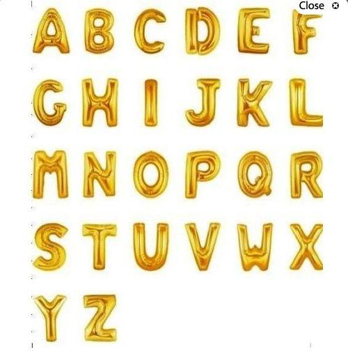 Litere baloane folie-auriu 35 cm inaltime - cuvinte