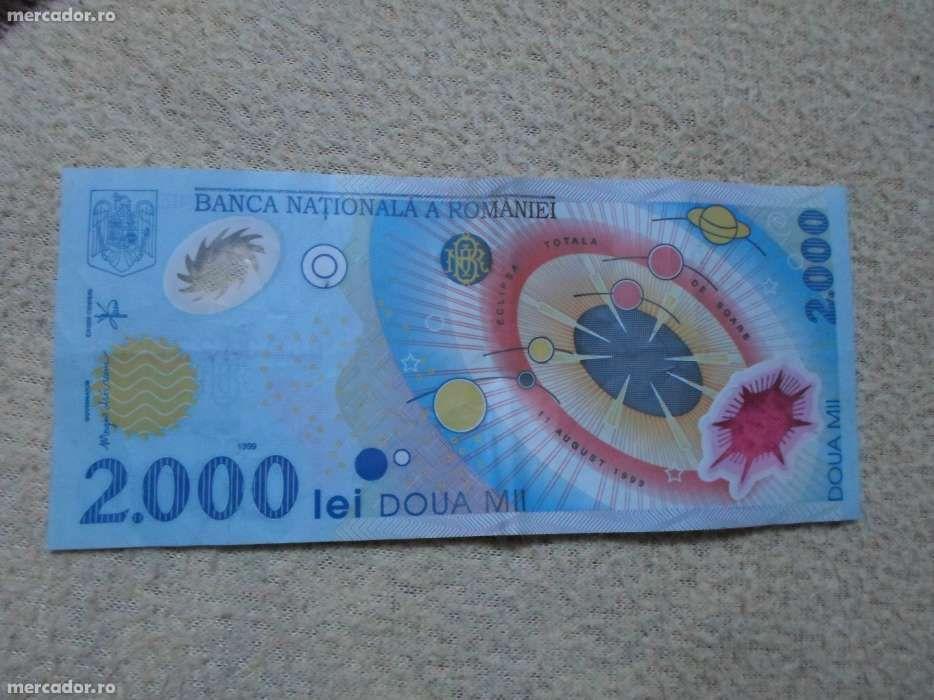 Vand Bacnota 2000 lei+ 2 monede 500 lei, cu eclipsa solara 1999