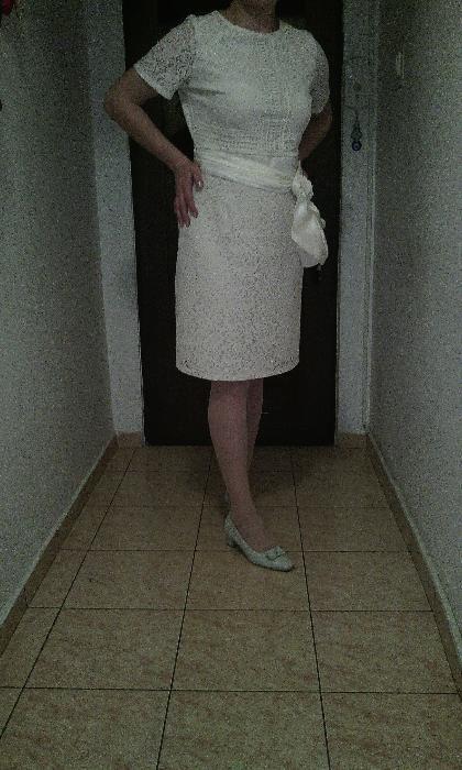 rochie mireasa/cununie civila/ocazie,scurta,croiala dreapta