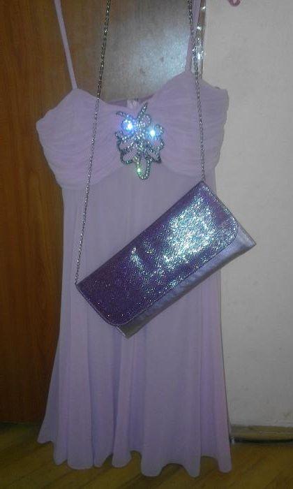 Rochie voal lila si plic asortat rochie eleganta marime S roz