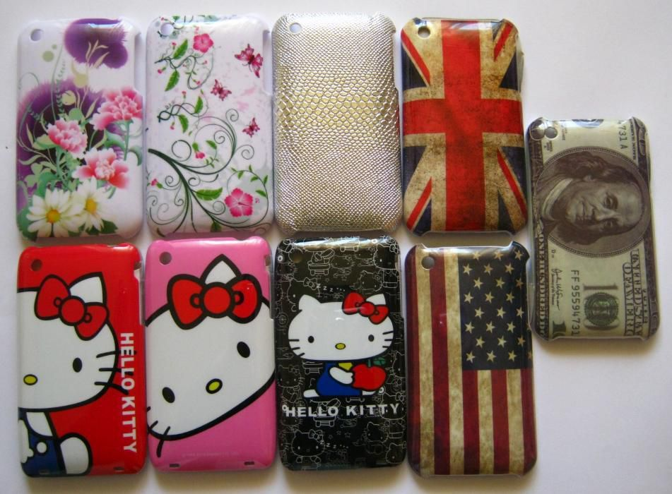 Carcasa protectie plastic iPhone 3, 3GS, Hello kitty etc + folie cadou