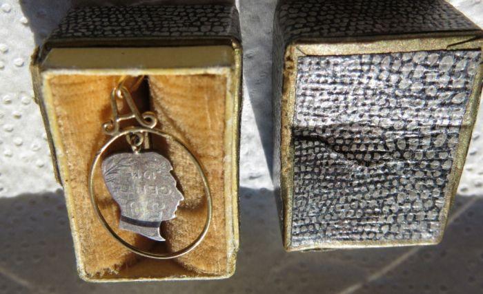 Pandant aur 18k, cu argint, vechi