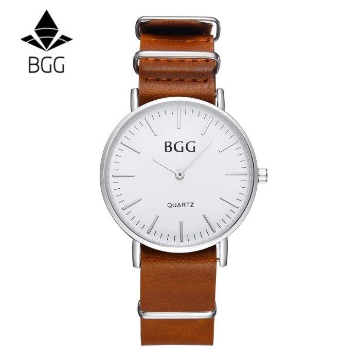 Ceas de mana barbati brand BGG curea piele maro