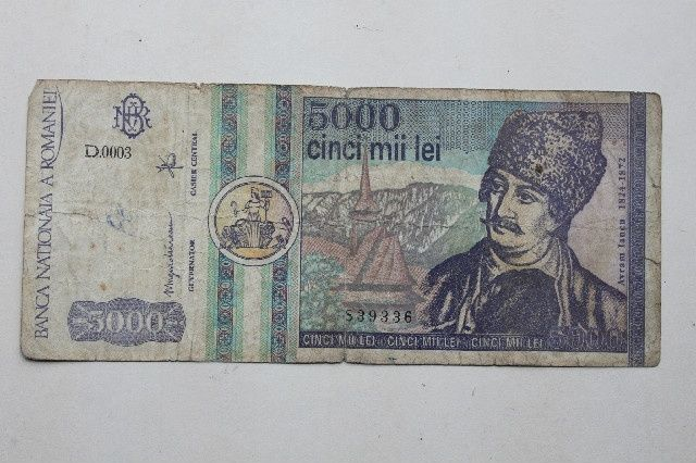 bancnota 5000 lei martie 1992 Romania rara