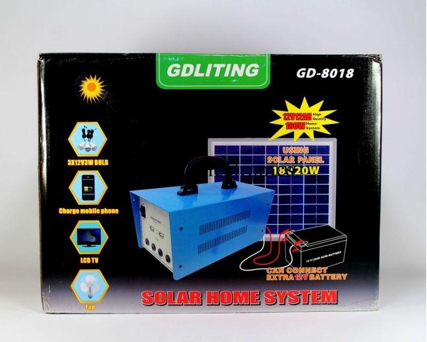 Kit solar 12v panou 20w invertor 100w 220v 3 becuri USB 12A