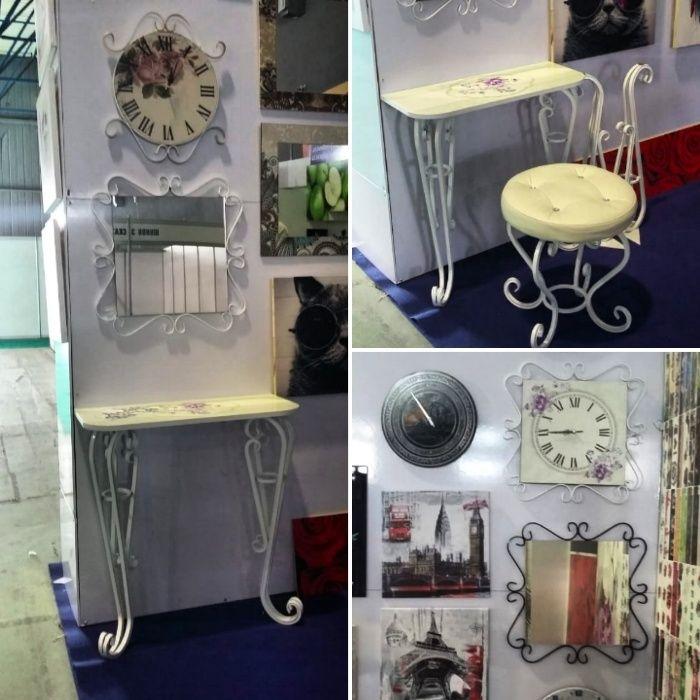 Комплект: кованый Пуфик+кованая Консоль+кованое Зеркало+кованые Часы