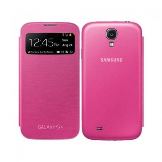Husa flip piele originala Samsung I9505 Galaxy S4 S-View roz