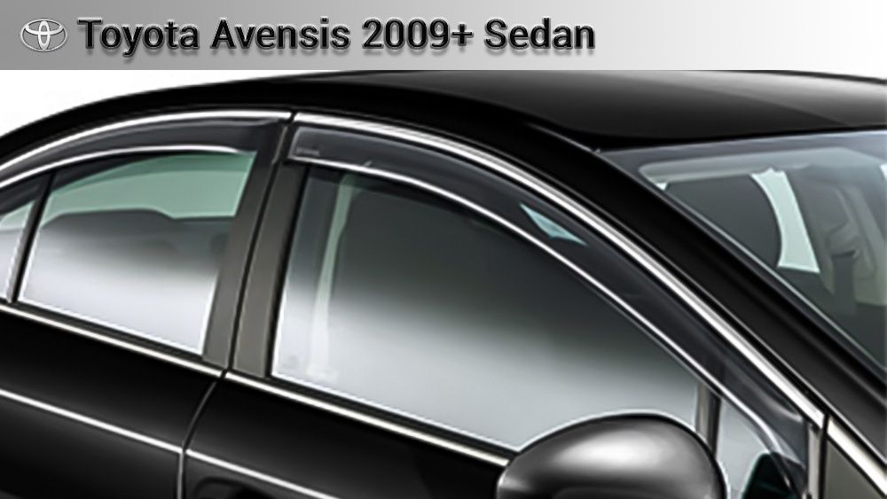 Ветровики оригинал TOYOTA AVENSIS с 2009 г. с креплением и логотипом