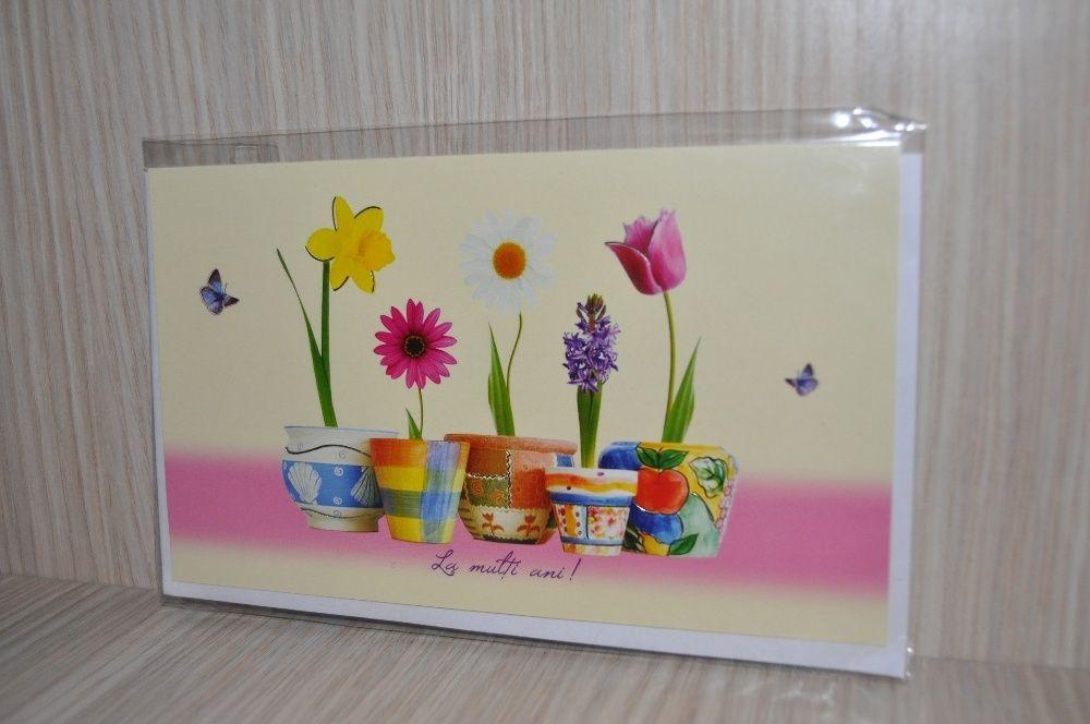 Felicitare cu flori + plic NOU