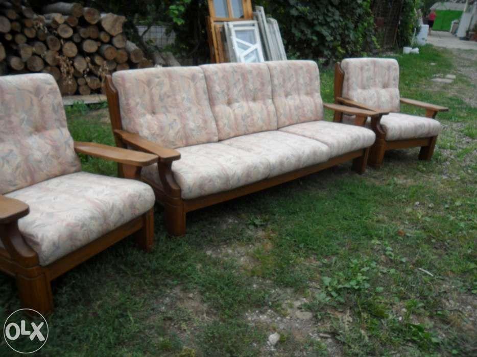 set canapea lemn masiv cu 2 fotolii- impecabila