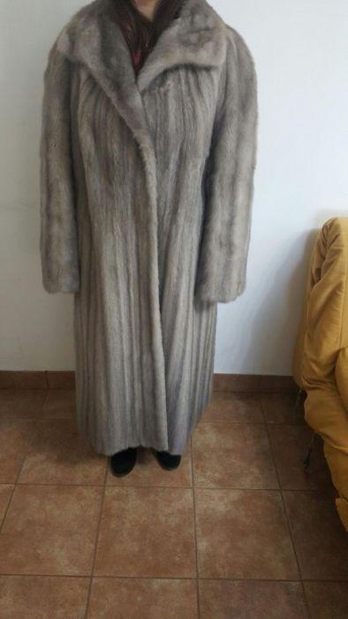 Haina lunga gri din blana de nurca+caciula