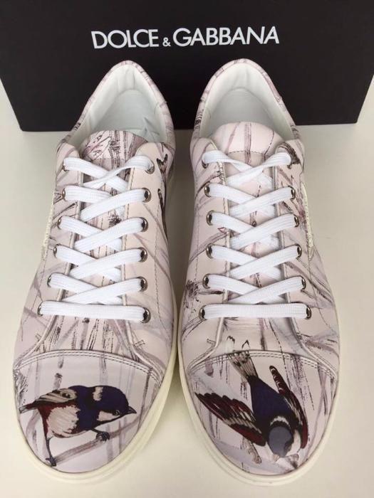 Sneakers DOLCE&GABBANA, crem cu imprimeu, autentici, Made in Italy