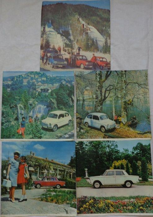 Пет броя ретро рекламни снимки на автомобили марка Застава СФРЮ