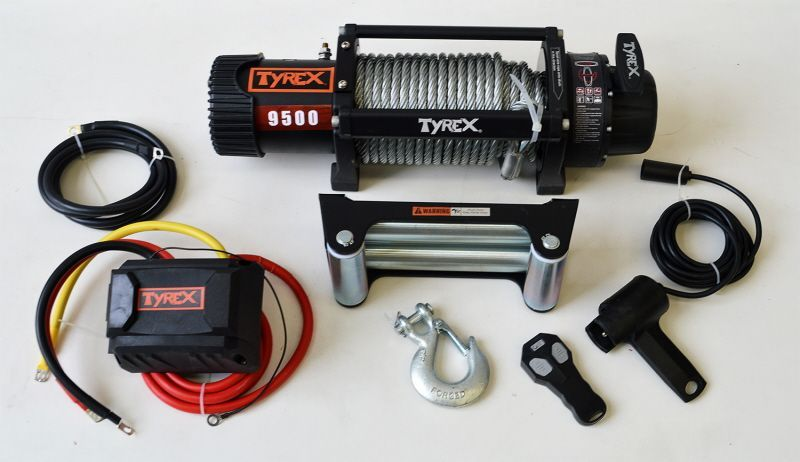 Troliu auto heavy duty Tyrex 9500 lbs - cablu de otel