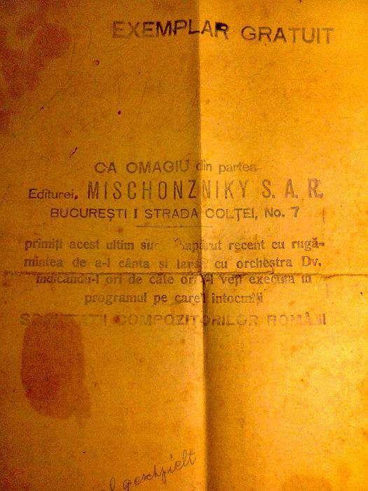 Partitura vintage - Vino iar duminica la hora - Ed. Mischonzniky 1938