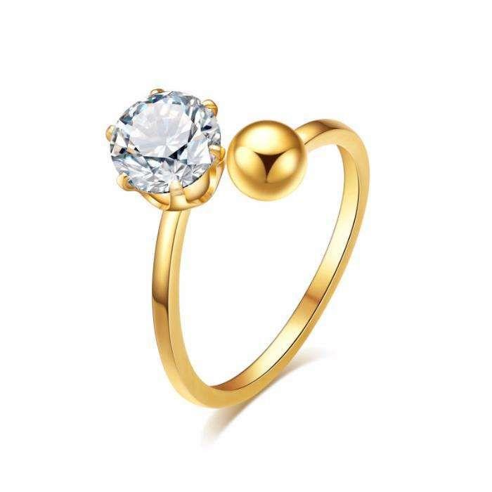 GR259,inel placat aur 14k,reglabil, zircon alb,ideal logodna
