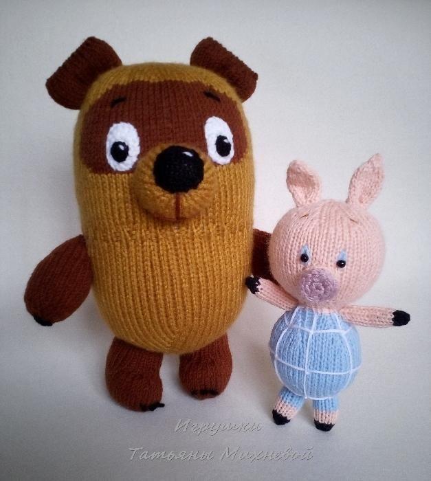 Продам вязаную игрушки, Винни Пух и Пятачок, ручная работа