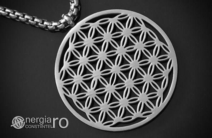 Pandantiv Floarea Vietii, Amuleta, Talisman, Medalion, INOX