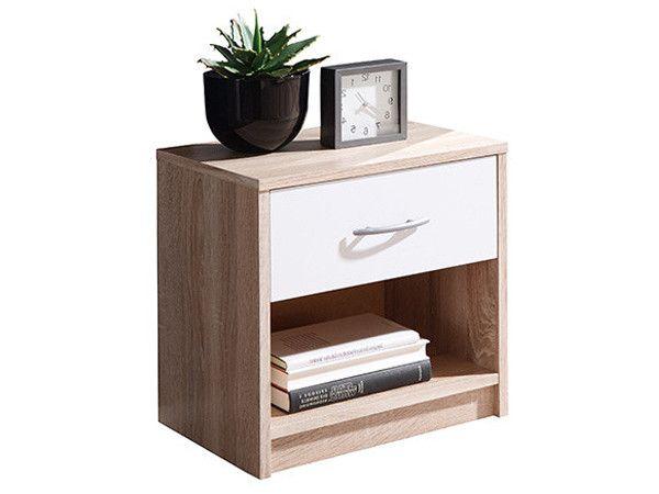 Нощно шкафче цвят дъб сонома и бяло