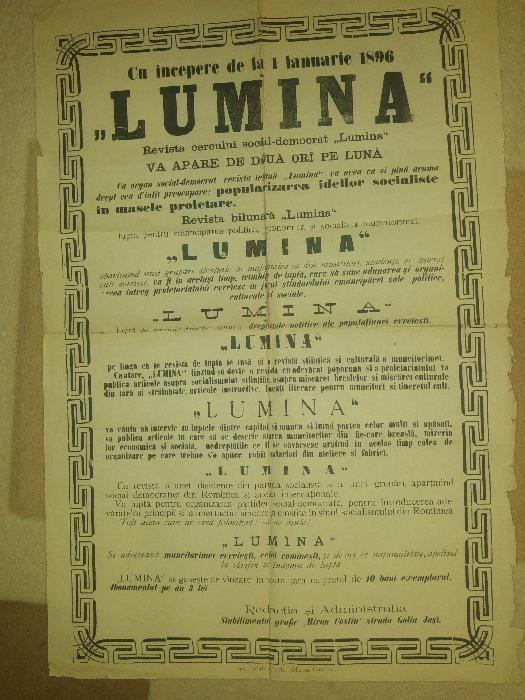 afis reclama ziarul lumina din anul 1896