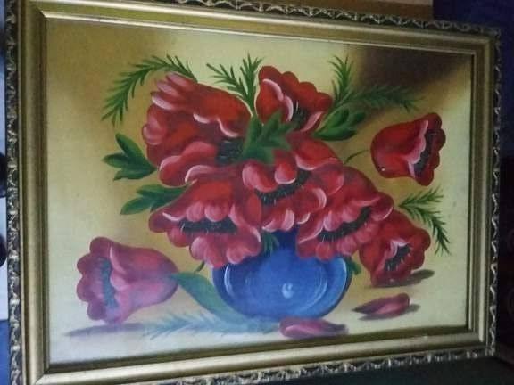 Pictura veche cu rama,tablou picta pe carton Superb,in stare f.buna