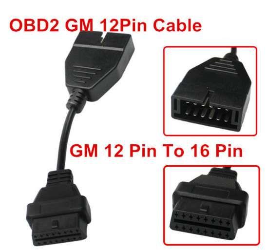 Кабел-преходник от GM 12 pin мъжки към 16 pin OBD2, за Autocom / Delph