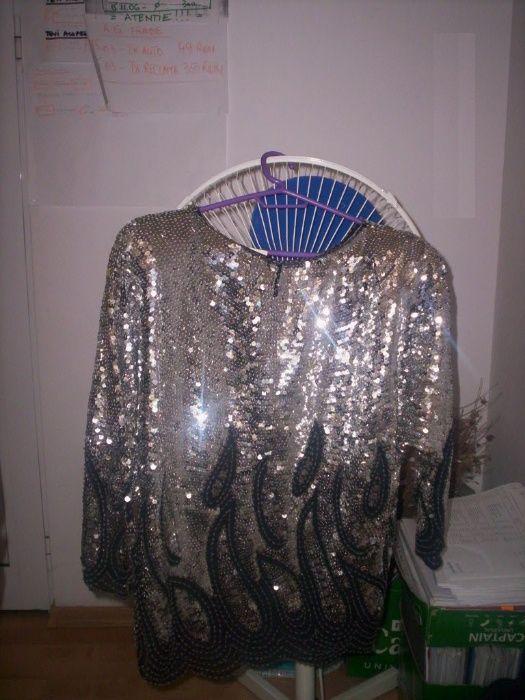 Bluza noua cu paiete lucrata manual pe voal negru-Australia