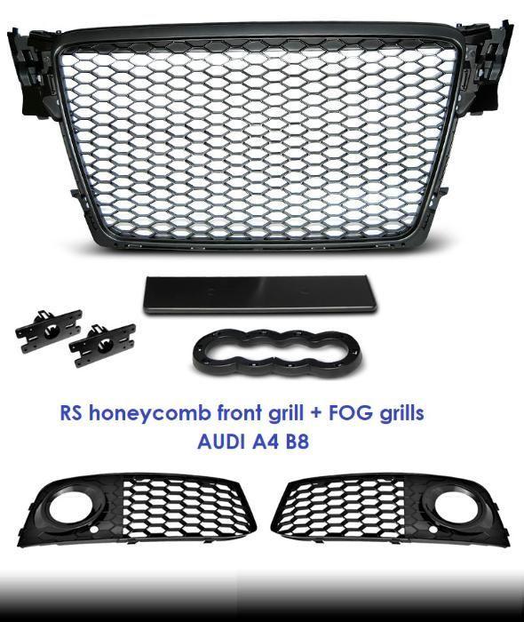 Set grila centrala + grile proiectoare RS look AUDI A4 B8 2008-2011