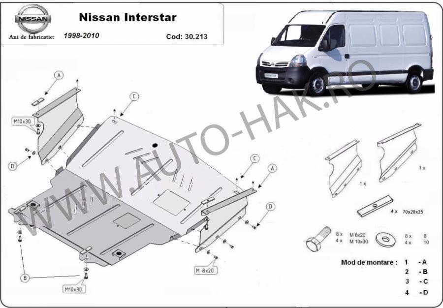Scut motor metalic Nissan Interstar 1998-2010 - otel 2mm