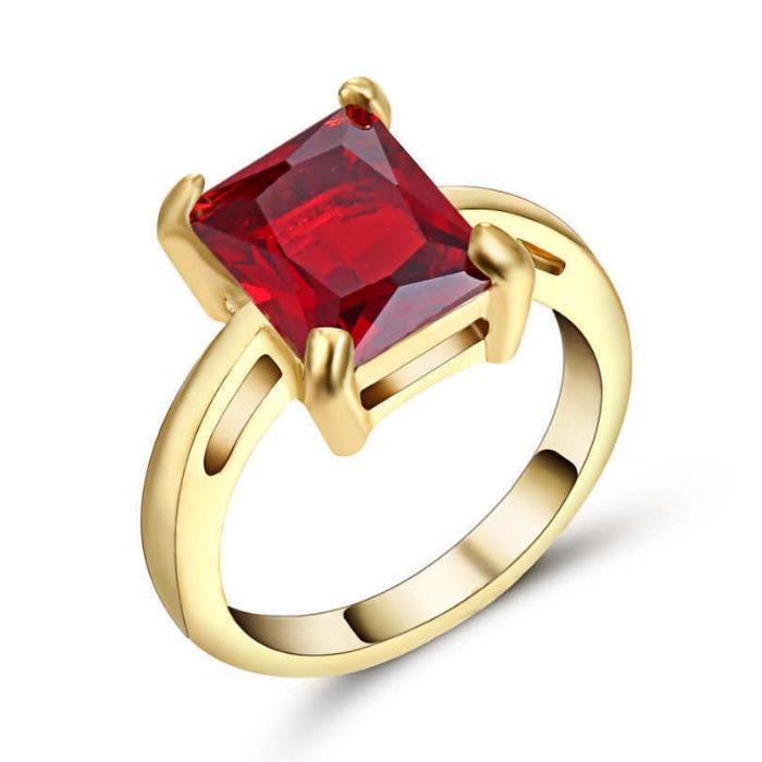 GR192,inel placat aur 18k,model logodna, zircon rosu fatetat,sau verde
