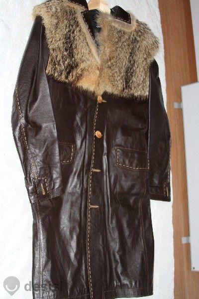 Дълго мъжко кожено яке от естествена кожа
