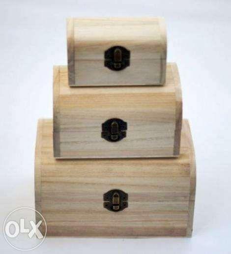 Set 3 cutii lemn - cufar